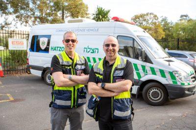 Hatzolah Melbourne Responders Leon Landau and UNIT 36 with the Community Ambulance
